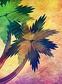 Grunge cartoon palms
