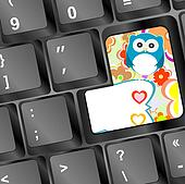 owl on computer keyboard key with love hearts and flowers