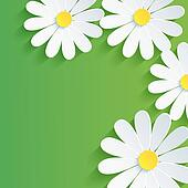 3d flower chamomile, spring abstract background