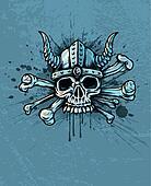 Skull in helmet with horns and bones