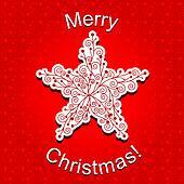 Abstract Red Christmas Star Snowflake