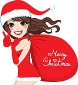 Santa Woman Merry Christmas