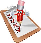 Cartoon Pencil Man and Survey Clipboard
