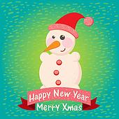 christmas background and greeting card with snowman