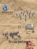hand drawing diagram of social network structure with crumpled recycle paper background  as concept