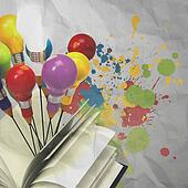 drawing idea pencil and light bulb concept outside the book with splash colors on crumpled paperas creative concept