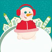 Happy New Year greeting card - Home background with snowman
