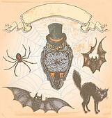Vintage Hand Drawn Halloween Owl