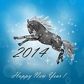Horse on christmas card.