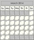 2014 CALENDAR monthly, march, with zodiac signs