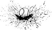 Baseball or Softball with Splatter