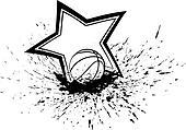Basketball with Splatter & Star
