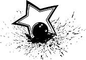 Bowling Ball with Splatter & Star