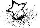 Football with Splatter & Star