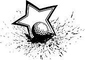 Golf Ball with Splatter & Star