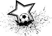 Soccer Ball with Splatter & Star