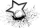 Tennis Ball with Splatter & Star