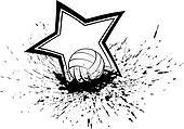 Volleyball with Splatter & Star