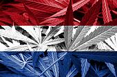Netherlands Flag on cannabis