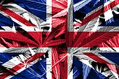 UK Flag on cannabis background