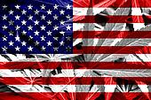 USA Flag on cannabis background