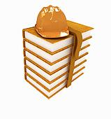 Stack of leather technical book with belt and hard hat