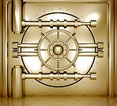 illustration of golden bank vault door, front view