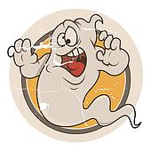 Scared Funny Halloween Ghost Vector