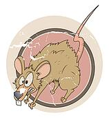 Funny Scared Rat Vector