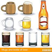 mugs, glasses and a bottle of beer
