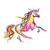 Horse sketch colorful for your design. Symbol of 2014 year
