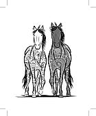 Couple of horses with floral ornament for your design. Symbol of 2014 year