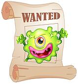 A wanted one-eyed monster in a poster