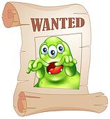 A wanted three-eyed monster in a poster