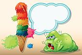 A sleepy green fat monster near the giant icecream