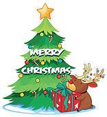 A big christmas tree beside the reindeer hugging the gift