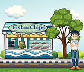 Fish And Chips Clip Art - Royalty Free - GoGraph