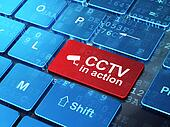 Protection concept: computer keyboard with Cctv Camera icon and word CCTV In action on enter button background, 3d render