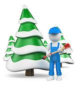 3D white people. Lumberjack with axe at snow covered fir forest