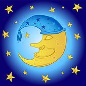 cartoon moon in the starry sky