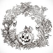 Festive decorative Halloween wreath