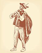Folk Musician Playing Violin