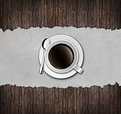 cup of coffee with wooden