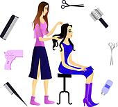 Hairdresser and her client. Eps 10