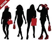 Sexy women silhouettes set