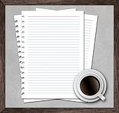notebook paper with cup of coffee