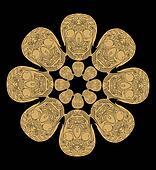 gold tattoo skull ethnic pattern vector art