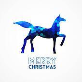 Blue geometric horse silhouette