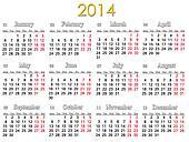 calendar for 2014 year