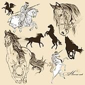 Collection of vector detailed horse